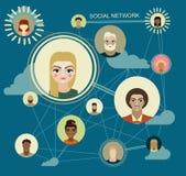 Medios círculos sociales, ejemplo de la red, icono Imagenes de archivo