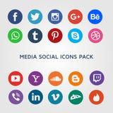 Medios colección social de los iconos de la red Fotos de archivo libres de regalías