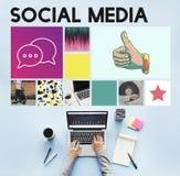 Medios comunicación social de la charla de la comunicación del blog imagen de archivo
