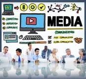 Medios concepto de las multimedias de la comunicación del lío de los dispositivos imagen de archivo libre de regalías