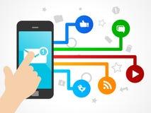 Medios concepto social con el teléfono elegante stock de ilustración