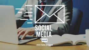 Medios concepto social de Internet de la comunicación de Digitaces fotos de archivo