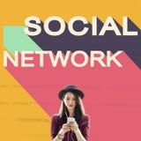 Medios concepto social de la charla de la conexión de la comunidad de la red Imagen de archivo libre de regalías