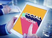Medios concepto social de la charla de la conexión de la comunidad de la red Fotografía de archivo libre de regalías