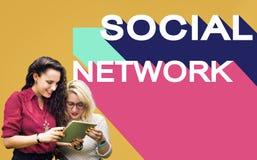 Medios concepto social de la charla de la conexión de la comunidad de la red Foto de archivo