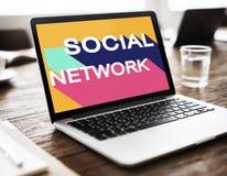 Medios concepto social de la charla de la conexión de la comunidad de la red Imagen de archivo