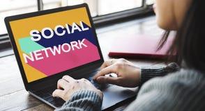 Medios concepto social de la charla de la conexión de la comunidad de la red Fotografía de archivo