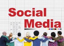 Medios concepto social de la comunicación de la conexión del establecimiento de una red fotos de archivo libres de regalías