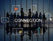 Medios concepto social de la conexión del anuncio foto de archivo