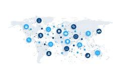 Medios concepto social de la red y del márketing con el mapa del mundo punteado Tecnología de Internet y del negocio Redes analít libre illustration