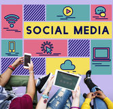 Medios concepto social del gráfico de la gente de la tecnología Imagen de archivo