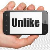 Medios concepto social: Mano que sostiene Smartphone con desemejante en la exhibición libre illustration
