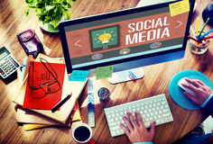 Medios concepto social social de la conexión de la tecnología del establecimiento de una red Fotografía de archivo libre de regalías
