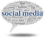 Medios conept social en nube de la etiqueta de la palabra Foto de archivo libre de regalías