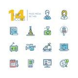 Medios de comunicación - sola línea moderna coloreada iconos fijados stock de ilustración