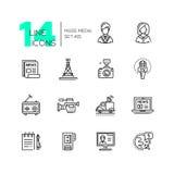 Medios de comunicación - sola línea moderna iconos fijados stock de ilustración
