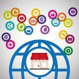 Medios de la tecnología digital de la comunicación que hacen compras global stock de ilustración