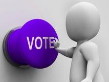 Medios del botón del voto que eligen la elección o la encuesta Imágenes de archivo libres de regalías