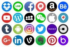 Medios del círculo y otros iconos sociales populares stock de ilustración