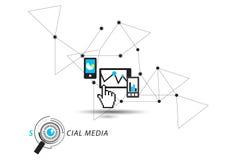 Medios del Social del tacto y del reloj Imagen de archivo libre de regalías