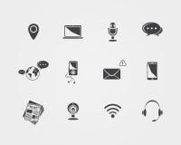 Medios del vector e iconos de la comunicación Imagen de archivo