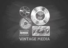 Medios del vintage en la pizarra Imagenes de archivo