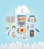 Medios dispositivos con la nube Fotos de archivo libres de regalías