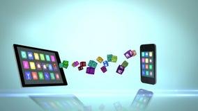 Medios dispositivos que transfieren apps libre illustration