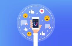 Medios ejemplo social del concepto de Influencer Persona que sostiene smartphone Diseño plano del vector imagen de archivo libre de regalías