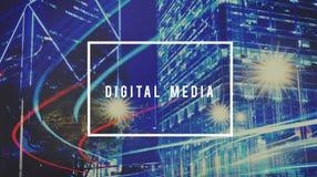 Medios estafa social del establecimiento de una red de la comunicación global de la red de Digitaces Fotografía de archivo libre de regalías