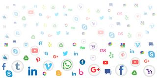 Medios fondo social del icono para el papel pintado en el fondo blanco fotos de archivo libres de regalías