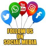 Medios globos sociales populares de los iconos ilustración del vector