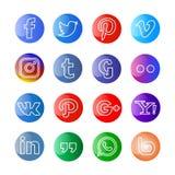 Medios icono y botones sociales brillantes ilustración del vector