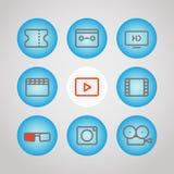 Medios iconos de diverso lineart fijados Diseño del vector ilustración del vector