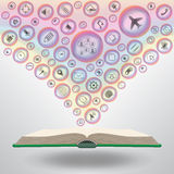 Medios iconos del negocio en el libro abierto Imagenes de archivo