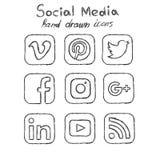 Medios iconos dibujados mano social ilustración del vector