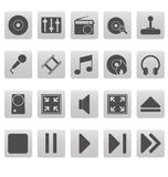 Medios iconos grises en cuadrados grises Fotografía de archivo libre de regalías