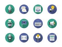 Medios iconos redondos planos contentos fijados ilustración del vector