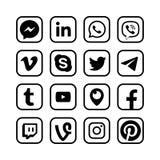 Medios iconos sociales Botones populares de la red de la web del vector de los mensajeros ilustración del vector