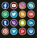 Medios iconos sociales circulares