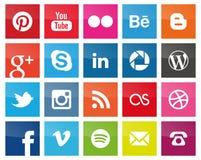 Medios iconos sociales cuadrados stock de ilustración