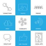 Medios iconos sociales de amigos, como, de vídeos y de fotos - concepto v Fotos de archivo