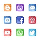 Medios iconos sociales de la red fijados stock de ilustración
