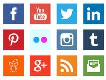 Medios iconos sociales del cuadrado del establecimiento de una red Fotografía de archivo libre de regalías
