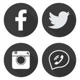 Medios iconos sociales determinados en estilo plano ilustración del vector