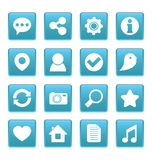 Medios iconos sociales en cuadrado azul Fotos de archivo libres de regalías