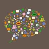 Medios iconos sociales en diversos colores