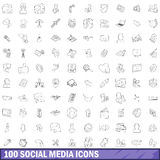 100 medios iconos sociales fijados, estilo del esquema Imagen de archivo libre de regalías
