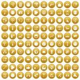 100 medios iconos sociales fijaron el oro ilustración del vector
