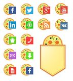 Medios iconos sociales para la tienda de pizza Imagenes de archivo